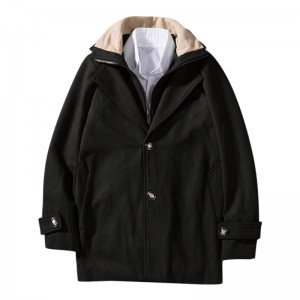 Mens Casual Woollen Contrast Color Collar Double Placket Coats