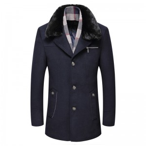 Mens Woolen Warm Coat Fleece Lining Thick Detachable Fur Collar Trench Coats
