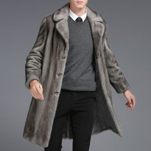 Mens Mink Faux Fur Coats Mid Long Winter Warm Stylish Furry Overcoat