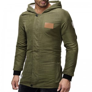 Mens Causal Solid Color Thick Warm Hooded Buttons Zipper Fly Long Sleeve Coats